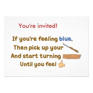 Poema oblicuo de Woodturning del azul Anuncio
