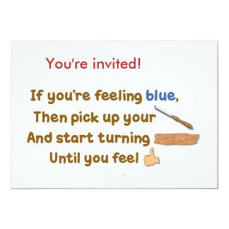 """Poema oblicuo de Woodturning del azul Invitación 5"""" X 7"""""""