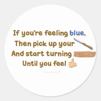 Poema oblicuo de Woodturning del azul Pegatina Redonda