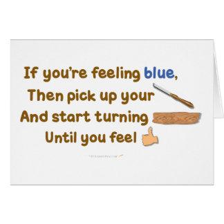 Poema oblicuo de Woodturning del azul Tarjeta De Felicitación