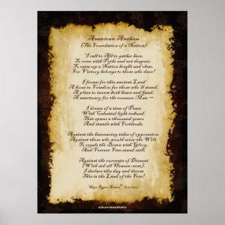 Poema original patriótico del himno americano poster