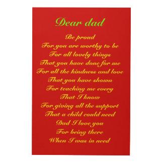 Poema para el tributo del día de padre del papá cuadro de madera