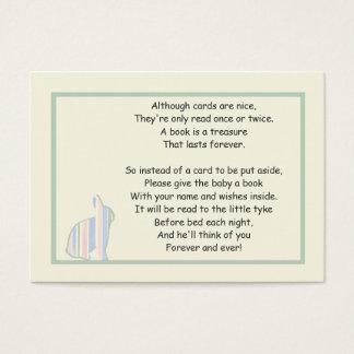 Poema rayado del libro de la fiesta de bienvenida tarjeta de negocios
