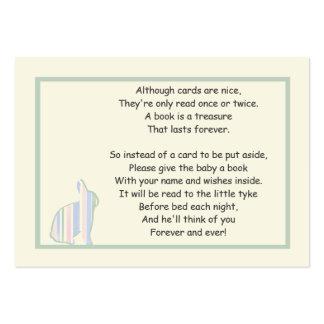 Poema rayado del libro de la fiesta de bienvenida tarjetas de visita grandes
