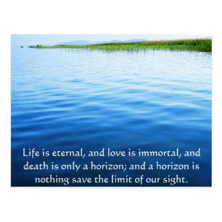 Poema sobre la muerte - cita que se aflige postal
