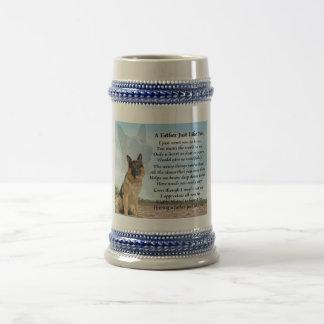 Poema Stein del padre del perro de pastor alemán Jarra De Cerveza
