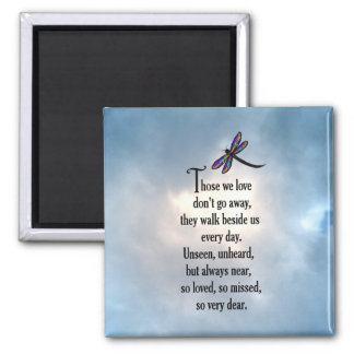 "Poema ""tan amado"" de la libélula imán cuadrado"