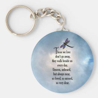 """Poema """"tan amado"""" de la libélula llavero redondo tipo pin"""