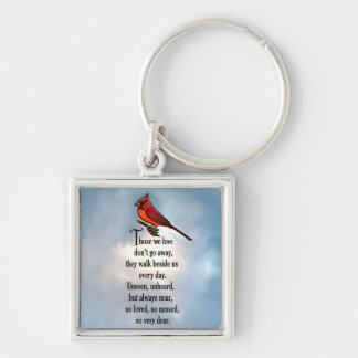 """Poema """"tan amado"""" del cardenal llavero cuadrado plateado"""