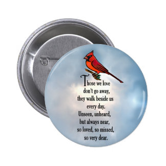 """Poema """"tan amado"""" del cardenal pin redondo de 2 pulgadas"""
