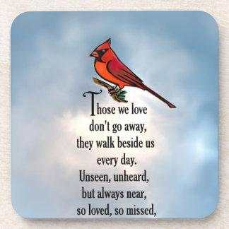"""Poema """"tan amado"""" del cardenal posavasos de bebida"""