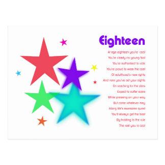 Poema único para 18 años que alcanzan para las tarjeta postal