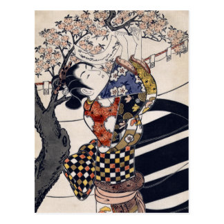 Poemas colgantes en un cerezo, Ishikawa Toyonobu Postal