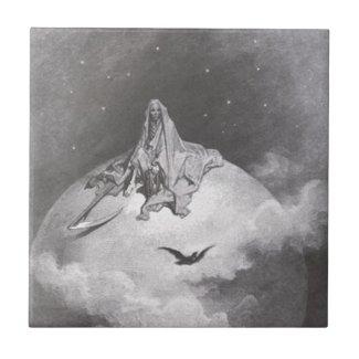 Poe's Raven Dreaming Dreams Print Ceramic Tile
