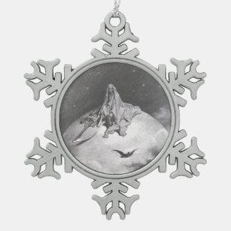 Poe's Raven Dreaming Dreams Print Snowflake Pewter Christmas Ornament