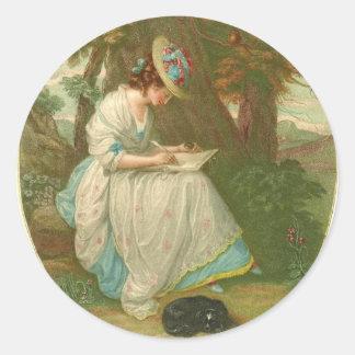 Poesía 1781 de la escritura pegatina redonda