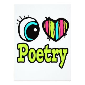 Poesía brillante del amor del corazón I del ojo Invitación 16,5 X 22,2 Cm