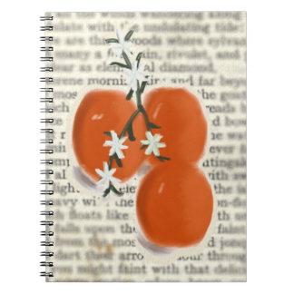 Poesía con los naranjas y el cuaderno de los flore