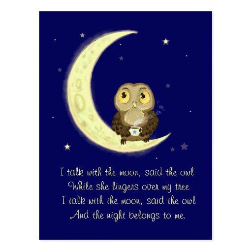 Poesía de medianoche del café del búho de la luna tarjeta postal