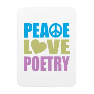 Poesía del amor de la paz imán de vinilo