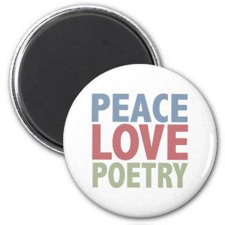 Poesía del amor de la paz imán redondo 5 cm