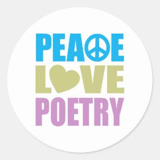 Poesía del amor de la paz pegatina redonda