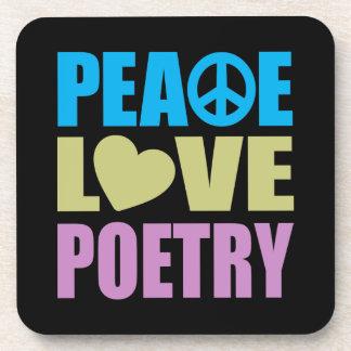 Poesía del amor de la paz posavasos de bebidas