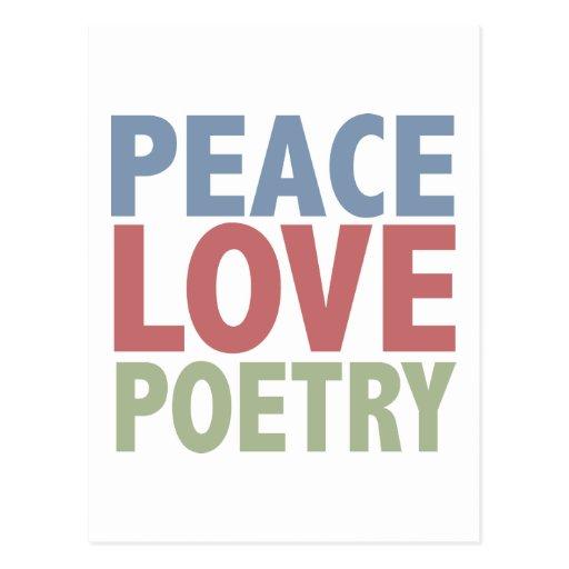 Poesía del amor de la paz tarjetas postales