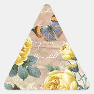 Poesía del rosa amarillo pegatina triangular