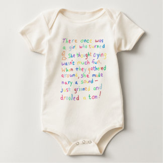 Poesía divertida de la quintilla del cumpleaños body para bebé