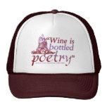 Poesía en botella vino gorras