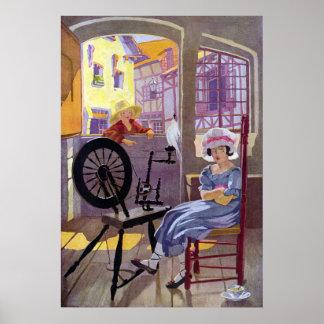 Poesía infantil cruzada del remiendo y de la rueda posters
