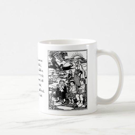 Poesía infantil de la casa de la mujer mayor y del tazas de café