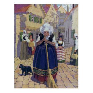 Poesía infantil de la mujer mayor, del gato y de l tarjeta postal