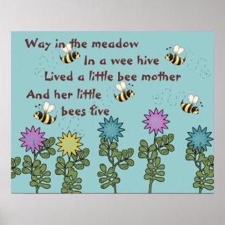 Poesía infantil de las abejas y de las flores del  póster