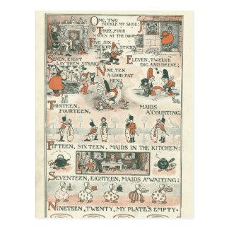 Poesía infantil de las Ephemeras del vintage Tarjeta Postal