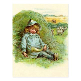 Poesía infantil del azul de Little Boy Postales
