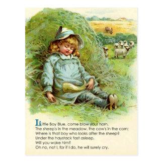 Poesía infantil del azul de Little Boy Tarjetas Postales