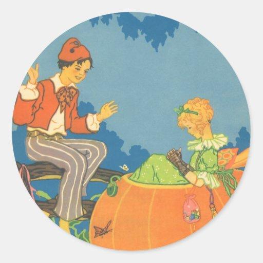 Poesía infantil del vintage, comedor de la pegatina redonda
