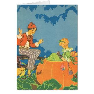 Poesía infantil del vintage, comedor de la tarjeta de felicitación