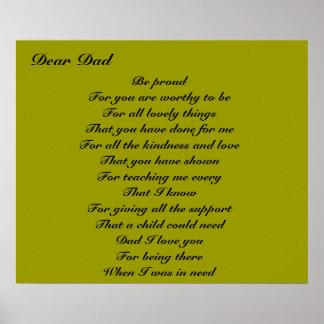 Poesía para el tributo del día de padre del papá póster