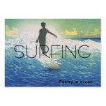 Poesía que practica surf SUPERIOR en el océano Plantillas De Tarjetas De Visita
