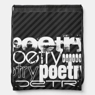 Poesía; Rayas negras y gris oscuro Mochilas