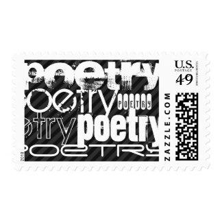 Poesía; Rayas negras y gris oscuro Sellos Postales