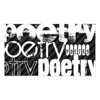 Poesía; Rayas negras y gris oscuro Tarjetas De Visita