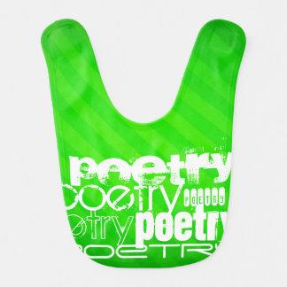 Poesía; Rayas verdes de neón Baberos De Bebé
