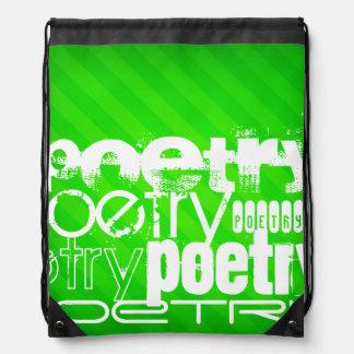 Poesía; Rayas verdes de neón Mochilas
