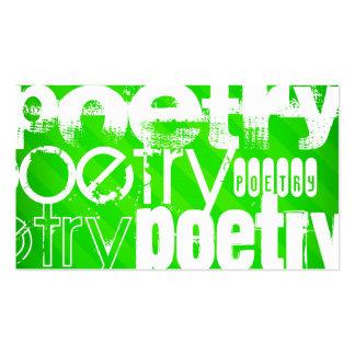 Poesía; Rayas verdes de neón Tarjetas De Visita