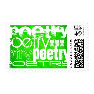 Poesía; Rayas verdes de neón Timbre Postal