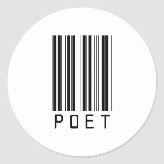Poet Bar Code Classic Round Sticker